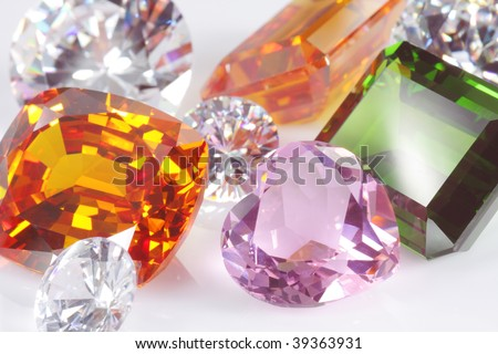 shallow focus on pink hart diamond - stock photo