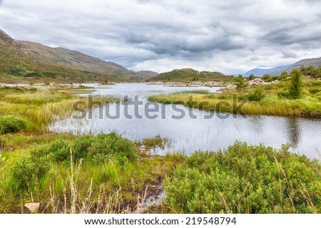Shallow lake and water plants between the slopes and hills of the Scottish Highlands, HDR version - stock photo