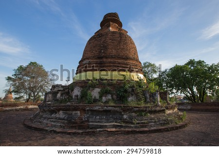 Shallow of focus the Old Pagoda at  Wat Maheyong, Ancient temple and monument in Ayutthaya province, Thailand. - stock photo