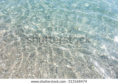 Shallow Sea Perfect White Sand Turquoise Water. Transparent sea water background. We can see astonishing play of light and shadow on the bottom - stock photo