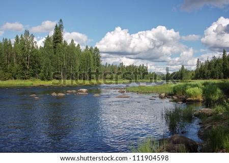 Shallows on Suna river, Karelia, Russia - stock photo