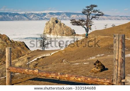 Shaman Rock on winter Baikal - stock photo