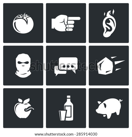 Shame, ridicule Isolated Flat Icons collection on a black background for design - stock photo