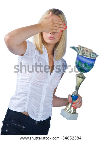 shamed woman with trophy full of money - stock photo