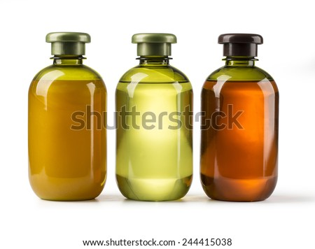 Shampoo bottle on a white background with clipping path - stock photo