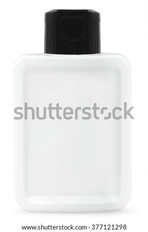 Shampoo, gel or lotion white plastic bottle on white background Isolated - stock photo