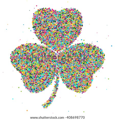 shamrock consisting of colored particles.