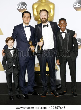 Shan Christopher Ogilvie, Benjamin Cleary, Abraham Atta and Jacob Tremblay at the 88th Annual Academy Awards - Press Room held at the Loews Hotel in Hollywood, USA on February 28, 2016. - stock photo