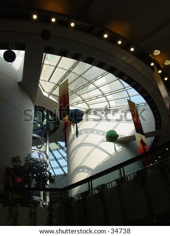 shang hai china eastern pearl tower inside first floor swirling stairs - stock photo