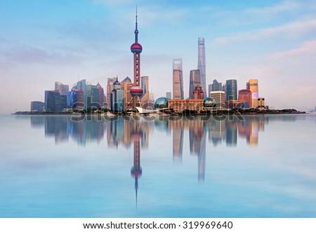 Shangahi skyline, China. - stock photo