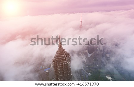 Shangghai building in the cloud sea