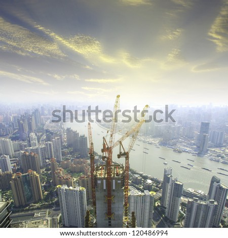 Shanghai building overlooks - stock photo