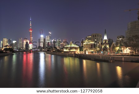 Shanghai Bund Garden Bridge skyline - stock photo