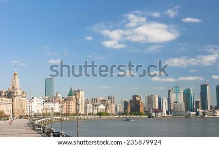 Shanghai Bund historical buildings,China - stock photo