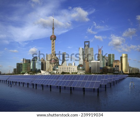Shanghai Bund skyline landmark ,Ecological energy renewable solar panel plant at concept   - stock photo