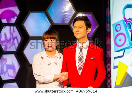SHANGHAI, CHINA - APR 3, 2016: Chinese celebrities at the Shanghai Madame Tussauds wax museum. Marie Tussaud was born as Marie Grosholtz in 1761