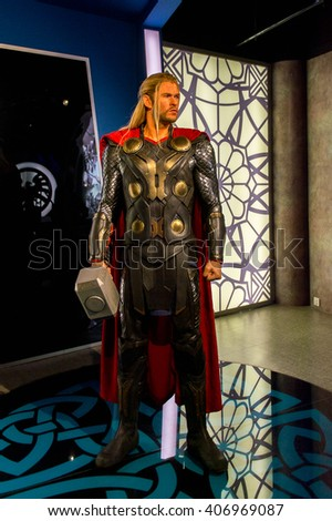 SHANGHAI, CHINA - APR 3, 2016: Chris Hemsworth as Thor at the Shanghai Madame Tussauds wax museum. Marie Tussaud was born as Marie Grosholtz in 1761