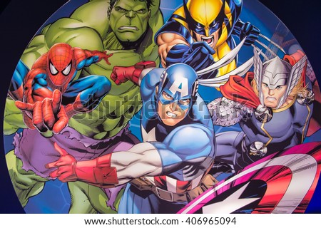 SHANGHAI, CHINA - APR 3, 2016: Marvel Avengers illustration at the Shanghai Madame Tussauds wax museum. Marie Tussaud was born as Marie Grosholtz in 1761