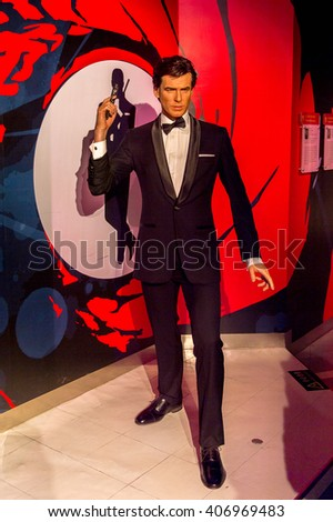 SHANGHAI, CHINA - APR 3, 2016: Pierce Brosnan at the Shanghai Madame Tussauds wax museum. Marie Tussaud was born as Marie Grosholtz in 1761