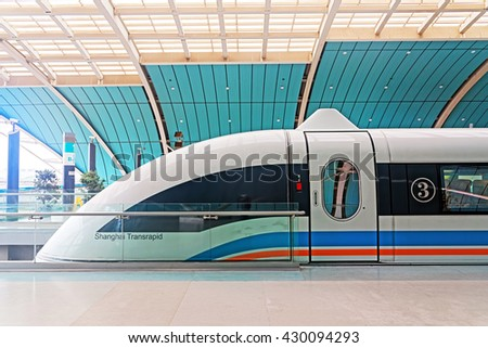 SHANGHAI, CHINA - April 20, 2016: Maglev Train, Shanghai Transrapid, is the first commercially operated high-speed magnetic levitation line in the world