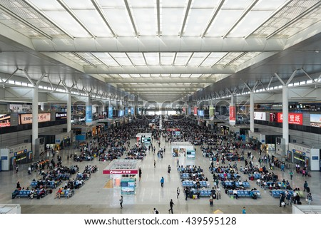 Shanghai, China - Aug 17, 2015: Shanghai Hongqiao Railway Station in China. Hongqiao Railway Station  is Asia's largest railway station. - stock photo