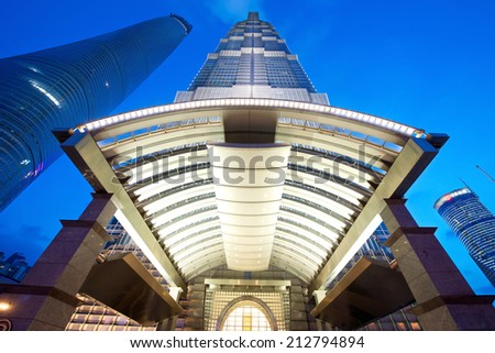 Shanghai, China - August 6, 2014: An amazing view of Shanghai Jin Mao tower at the Hyatt Entrance - stock photo