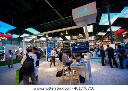 SHANGHAI, CHINA - AUGUST 31, 2016: Booth of Infosys company at Connect 2016 information technology conference and exhibition in Shanghai, China on August 31, 2016.