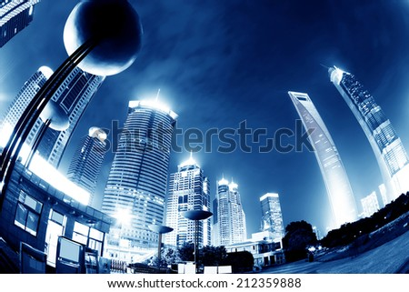 Shanghai, China, city skyscrapers at night.