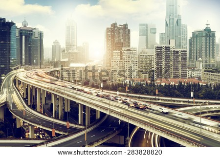 Shanghai, China highway and viaduct - stock photo