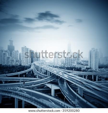Shanghai, China highway and viaduct - stock photo