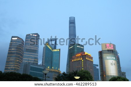 Shanghai China - July 15 2015: The night view of the Pudong Lujiazui