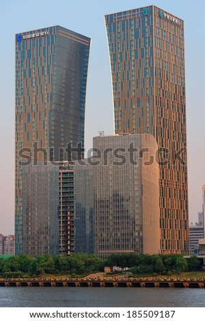SHANGHAI, CHINA - JUNE 2: China Construction Bank Building closeup on JUNE 2, 2012 in Shanghai, China. It is the second largest bank by market capitalization and 13th largest company in the world.