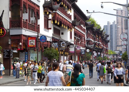 Shanghai,China - June 26,2016 : The street in front of Yu yuan garden in Shanghai,China on June 26,2016. Yu yuan garden is a famous commercial street in Shanghai.