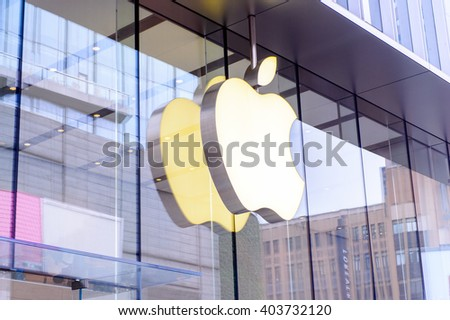 SHANGHAI, CHINA - MAR 31, 2016: Apple store at the Nanjing Road in Shanghai. Apple is the multinational technology company headquartered in Cupertino, California, - stock photo