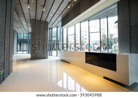SHANGHAI,CHINA- MAR,19,2016:Interior of Soho modern office Lobby at Xintiandi in Shanghai China.