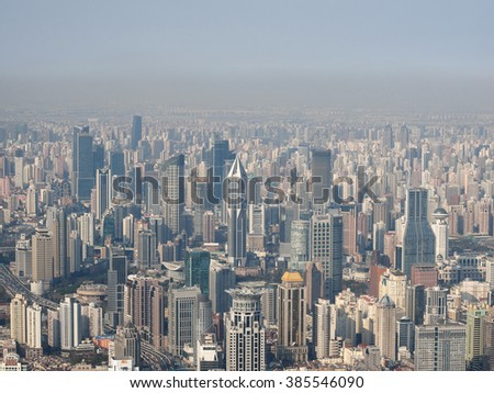 Shanghai, China - March. 1, 2016: Aerial View of Shanghai Downtown District in sunny day.