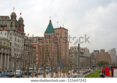 SHANGHAI, CHINA-MARCH 29, 2010: old buildings in the Bund, one of the most famous tourist destinations in Shanghai.