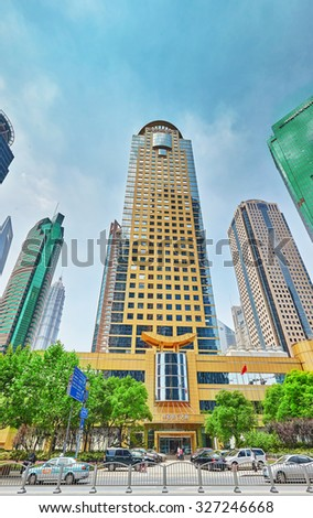 SHANGHAI, CHINA- MAY, 24, 2015: Beautiful skyscrapers, city building, beautiful office and commercial buildings in the Pudong business part of modern Shanghai .