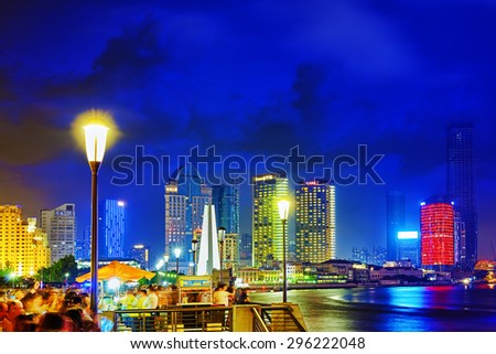 SHANGHAI, CHINA - MAY 23, 2015:Beautiful view of  Shanghai -  Bund or Waitan waterfront at night. Shanghai waterfront Bund has historical buildings and it is one of the most famous tourist places. - stock photo