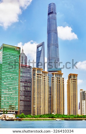 SHANGHAI, CHINA - MAY 24, 2015:Beautiful view skyscrapers, waterfront and city building of Pudong, Shanghai, China.