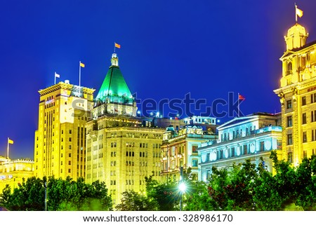 SHANGHAI, CHINA - MAY 23, 2015: Bund or Waitan waterfront at night. Shanghai waterfront Bund has historical buildings and it is one of the most famous tourist place. - stock photo