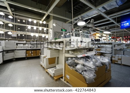 Shanghai.China-MAY 17, 2016:Ikea store interior In Shanghai of China.The NO.1 brand of home furnishing store.