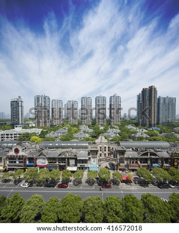 Shanghai,China-May 01,2016:Shanghai mordenapartment and vila building in a sunny day