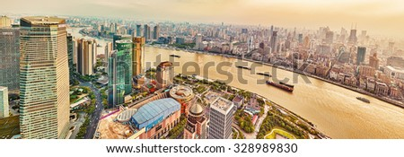 SHANGHAI, CHINA - MAY 24, 2015: Skyscrapers, waterfront and city building of Pudong, Shanghai, China.