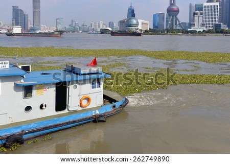 SHANGHAI, CHINA - NOV 19, 2014: Boat in Huangpu River in Bund area of Shanghai tries to corral the proliferation of Water Hyacinth, an invasive species of weed, and garbage. - stock photo