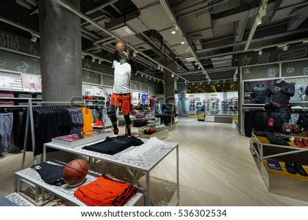 Shanghai.China-NOV,10,2016;Jordan brand store. One of famous sports fashion brands worldwide and it is one of the world's largest suppliers of athletic shoes and apparel.It's the first brand in China.