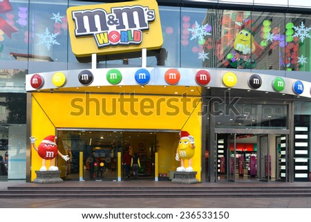 SHANGHAI, CHINA - NOV 13, 2014:  Spanning two floors is the M&M's World store in Shanghai, the first in Asia, on the busy and vibrant East Nanjing Road.  It had its grand opening in August of 2014.