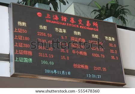 SHANGHAI CHINA - NOVEMBER 1, 2016: Shanghai Stock Exchange stock index. Shanghai Stock Exchange one of the two stock exchanges operating independently in China.