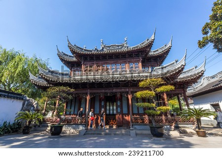 SHANGHAI, CHINA - OCT 24, 2014: An old Chinese building in Yuyuan Garden in Shanghai, China. It located beside the City God Temple in the northeast of the Old City of Shanghai, China. - stock photo