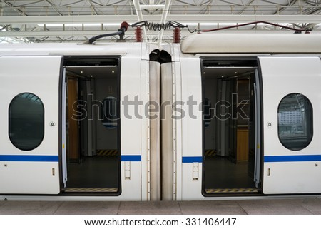 Shanghai, CHINA - OCT 2015: The doors of the high speed train at the Shanghai Hongqiao Railway Station on OCT 25, 2015.